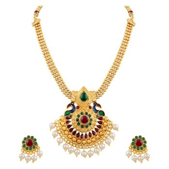 Charming 3 String Peacock Design Meenakari Gold Plated Matinee Style Necklace Set For Women