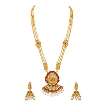 Royal 3 String Laxmi Pendent Temple Gold Plated Matinee Style Necklace Set For Women