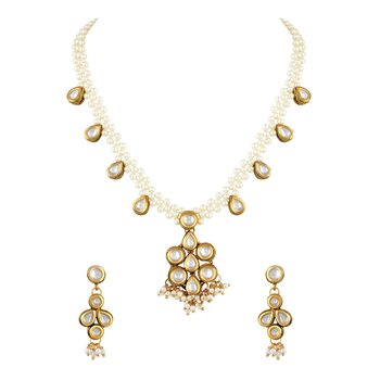 Designer Flower Shape Gold Plated Matinee Style Necklace Set For Women