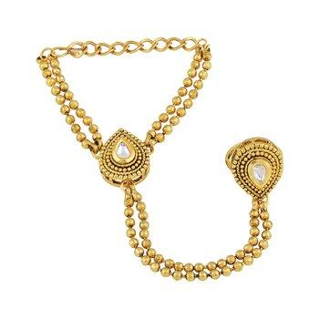 Resplendent Pear Shape Gold Plated Designer Hathphool For Women