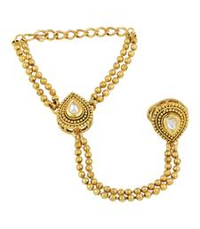 Resplendent Pear Shape Gold Plated Designer Hathphool For Women