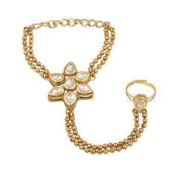 Attractive Flower Shape Gold Plated Designer Hathphool For Women