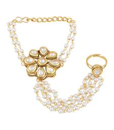 Trendy Flower Shape Gold Plated Designer Hathphool For Women