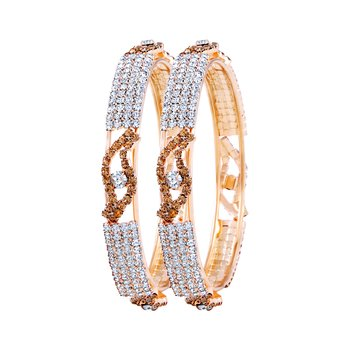 Gleaming Gold Plated Lct Stone Bangle Set For Women