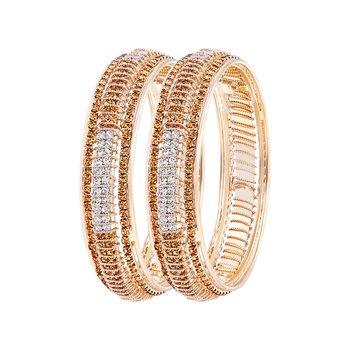 Ravishing Gold Plated Lct Stone Bangle Set For Women