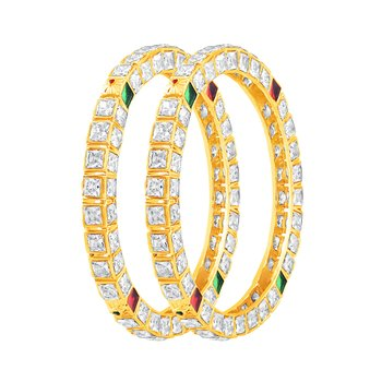 Beguiling Gold Plated Fancy Stone Bangle Set For Women