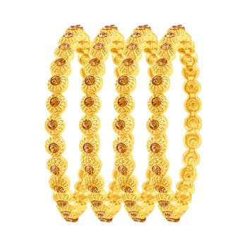 Fancy Gold Plated Austrian Stone Set Of 4 Bangles For Women