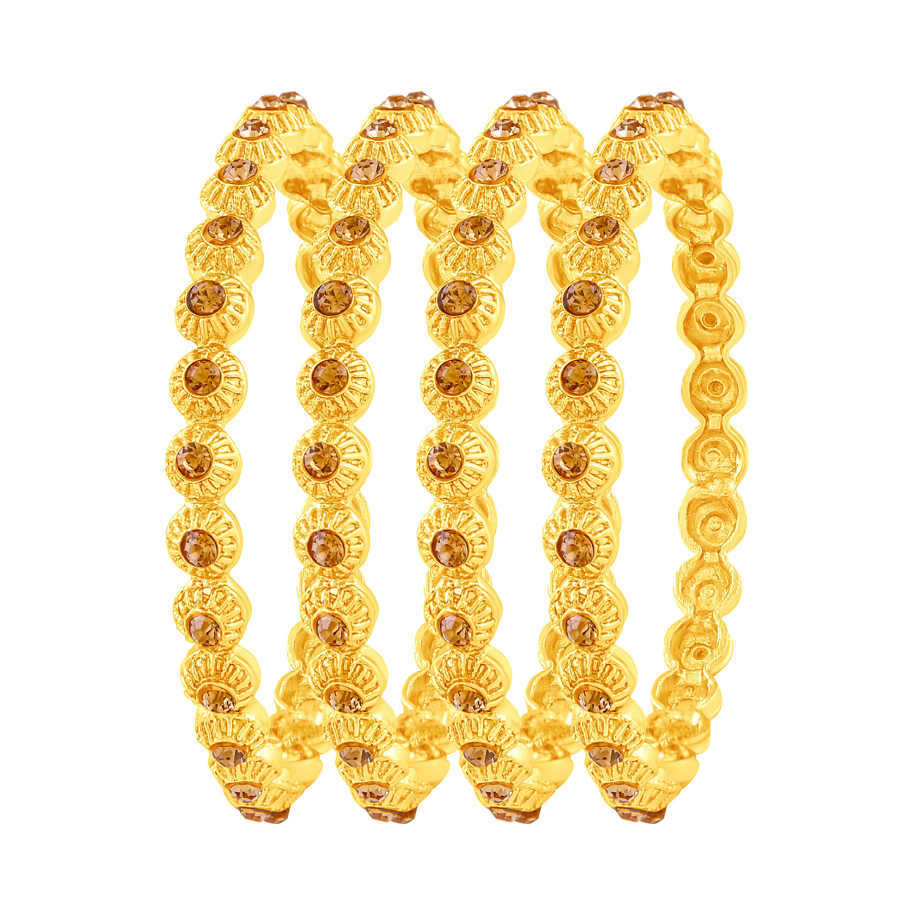 cb2824ed67864 Fancy gold plated austrian stone set of 4 bangles for women