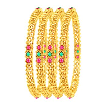 Glistening Gold Plated Fancy Stone Set Of 4 Bangles For Women