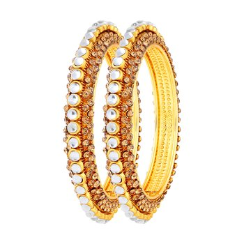 Exquitely Gold Plated Lct Stone Bangle Set For Women