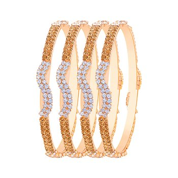 Glittery Gold Plated Lct Stone Set Of 4 Bangles For Women