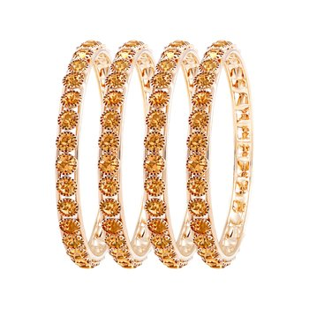 Fabulous Gold Plated Lct Stone Set Of 4 Bangles For Women