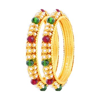 Delightly Gold Plated Fancy Stone Bangle Set For Women