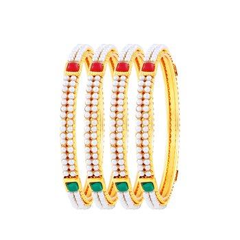 Sleek Gold Plated Fancy Stone Set Of 4 Bangles For Women