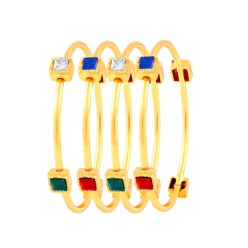 Luxurious Gold Plated Fancy Stone Set Of 4 Bangles For Women