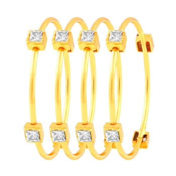 Appealing Gold Plated Fancy Stone Set Of 4 Bangles For Women