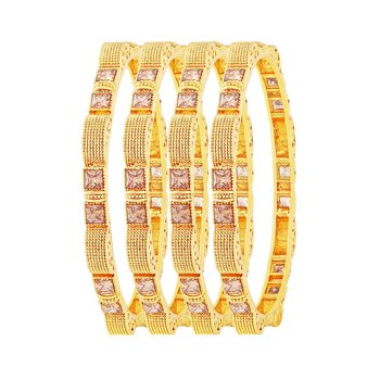 Exotic Gold Plated Lct Stone Set Of 4 Bangles For Women