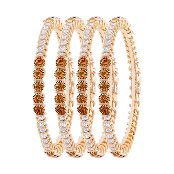 Classy Gold Plated Lct Stone Set Of 4 Bangles For Women