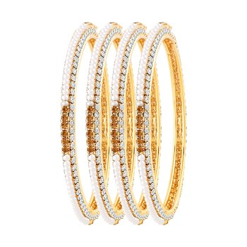 Graceful Gold Plated Lct Stone Set Of 4 Bangles For Women