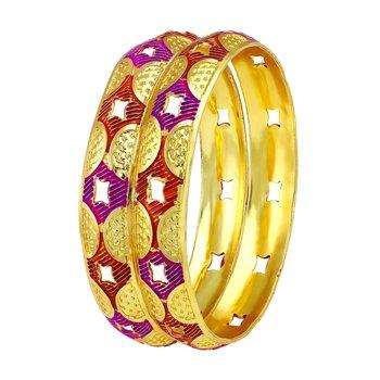 Gleaming Meenakari Work Gold Plated Enamel Bangle For Women