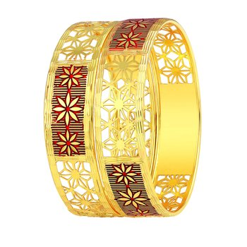Fine Flower Work Gold Plated Bangle For Women