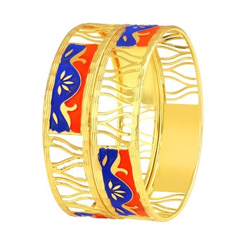 Glistening Wave Shape Gold Plated Bangle For Women
