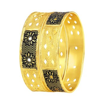 Intricately Flower Design Gold Plated Bangle For Women