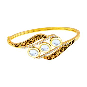 Classic Round Shape With Antique Work Gold Plated Ad Openable Kada For Women