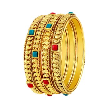 Stylish Traditional Gold Plated Red & Green Kundan Bangle Set For Women