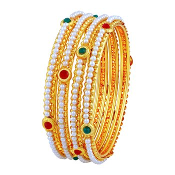 Astonish Traditional Gold Plated Red & Green Stone Bangle Set For Women