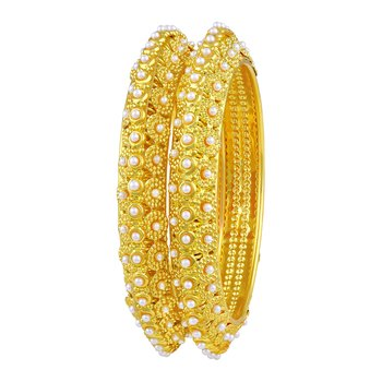 Glimmery Traditional Gold Plated Bangles For Women