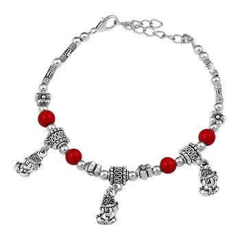 Pleasing Red Beads With Flower Shape Silver Plated Bracelet For Women