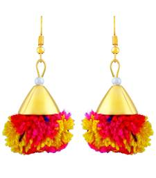 Charming Hand Made Multy Color Wool Gold Plated Hanging Earring For Women