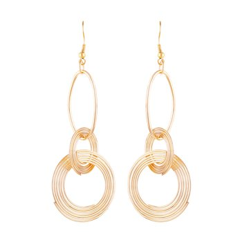 Sleek 3 Round Shape Gold Plated Drop Earring For Women