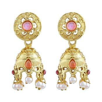 Modish Round Shape Pink Kundan Gold Plated Jhumki Earring For Women
