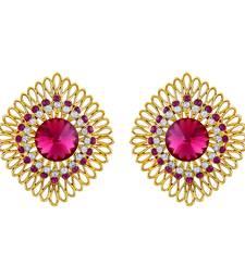 Brilliant Square Design Filigree Gold Plated Stud Earring For Women
