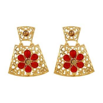Luxurious Trazium Shape Filigree Gold Plated Drop Earring For Women