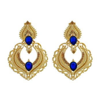 Traditionally Pear Shape Gold Plated Drop Earring For Women