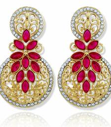 Resplendent Round Stone Filigree Gold Plated Drop Earring For Women