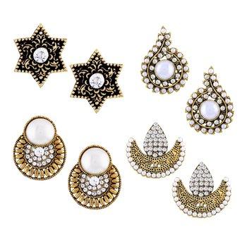Designer Stud Gold Plated Combo Of 4 Earring For Women