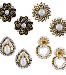 Fashionable Stud Gold Plated Combo of 4 Earring For Women