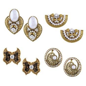 Splendid Stud Gold Plated Combo Of 4 Earring For Women