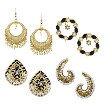 Gleaming Dangle & Drop Gold Plated Combo of 4 Earring For Women