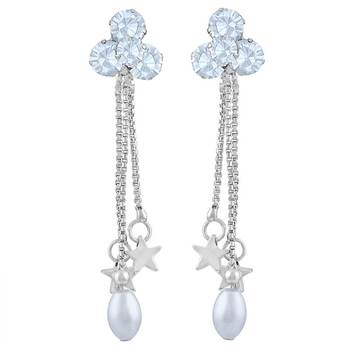 Fancy White Stone Rhodium Plated Dangle Earring For Women