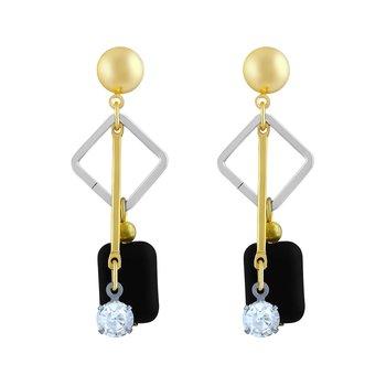 Modern White Stone Gold Dangle Earring For Women