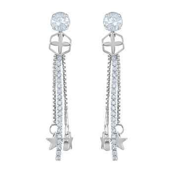 Stylish White Stone Rhodium Plated Dangle Earring For Women