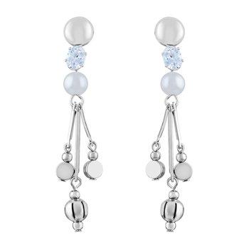 Modern White Stone Rhodium Plated Dangle Earring For Women