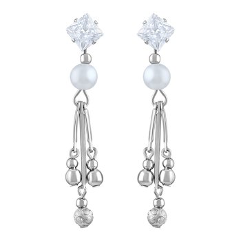 Dazzling White Stone Rhodium Plated Dangle Earring For Women
