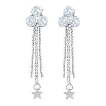 Classy White Stone Rhodium Plated Dangle Earring For Women