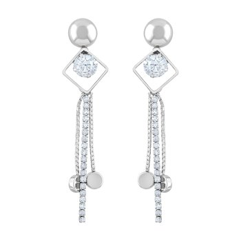 Modern White Stone Rhodium Plated Dangle Earring For Women
